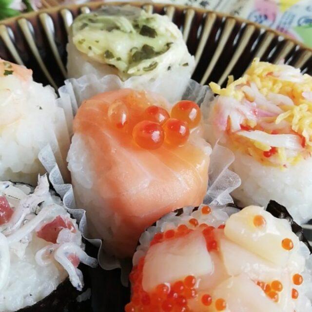 サーモンにいくらの乗った手まり寿司