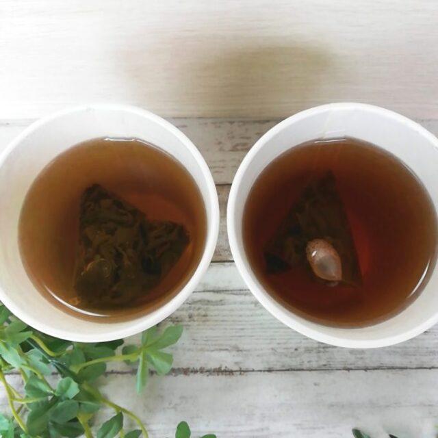 ローソンウチカフェの台湾茶2種にお湯をいれてもらったところ