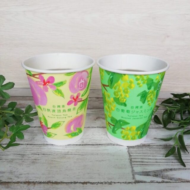 ローソンウチカフェの白桃凍頂烏龍茶と白葡萄ジャスミン茶のパッケージ
