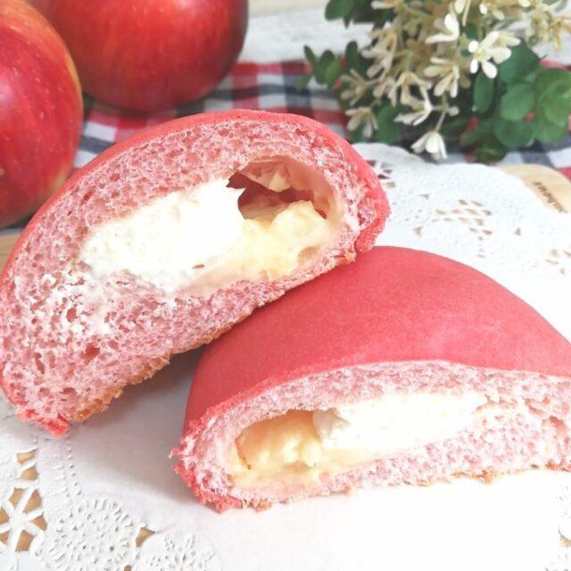 ローソン新商品のパン「しっとりりんごパン」の断面