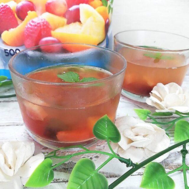 業務スーパーの冷凍フルーツミックスをゼリーにアレンジ
