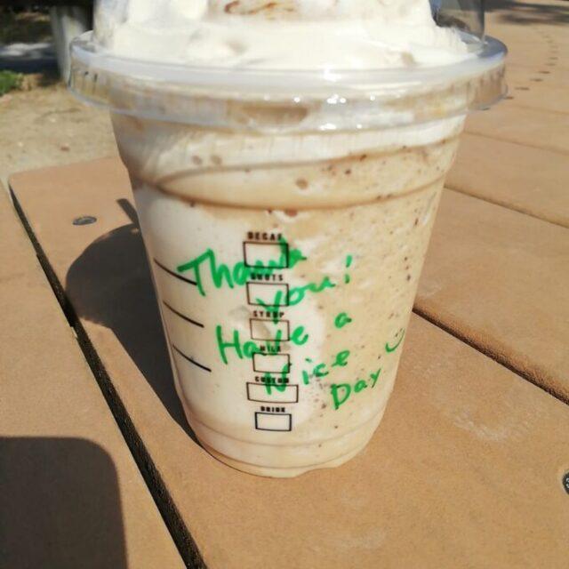 スタバのコーヒークリームフラペチーノに書かれたメッセージ