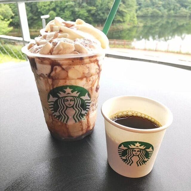 スタバのあんこコーヒーフラペチーノと試飲のコーヒー