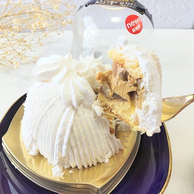 ミニストップ「ごろごろ栗の純白ケーキ」の断面とパッケージ